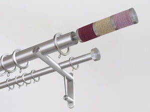 30mm diameter stainless steel double curtain pole system with Combination finials in Rhubarb