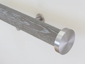 Real solid smoked grey oak curtain pole in 50mm diameter with track, hand finished in the UK | Walcot House