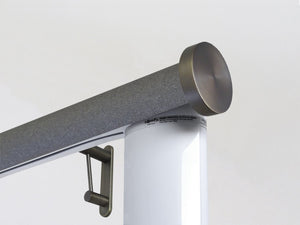 Motorised electric curtain pole in black pepper, wireless & battery powered using the Somfy Glydea track | Walcot House UK curtain pole specialists