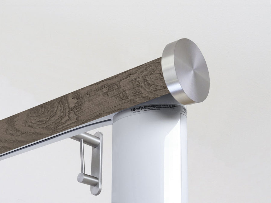 Motorised electric curtain pole in brazil nut brown driftwood, wireless & battery powered using the Somfy Glydea track | Walcot House UK curtain pole specialists