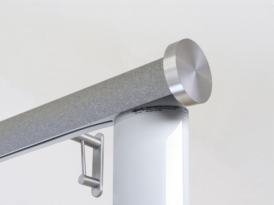 Motorised electric curtain pole in dusk grey, wireless & battery powered using the Somfy Glydea track | Walcot House UK curtain pole specialists