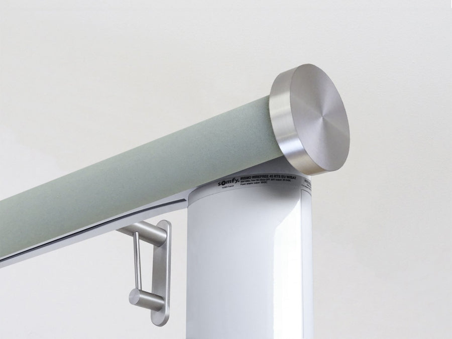 Motorised electric curtain pole in eucalyptus blue, wireless & battery powered using the Somfy Glydea track | Walcot House UK curtain pole specialists