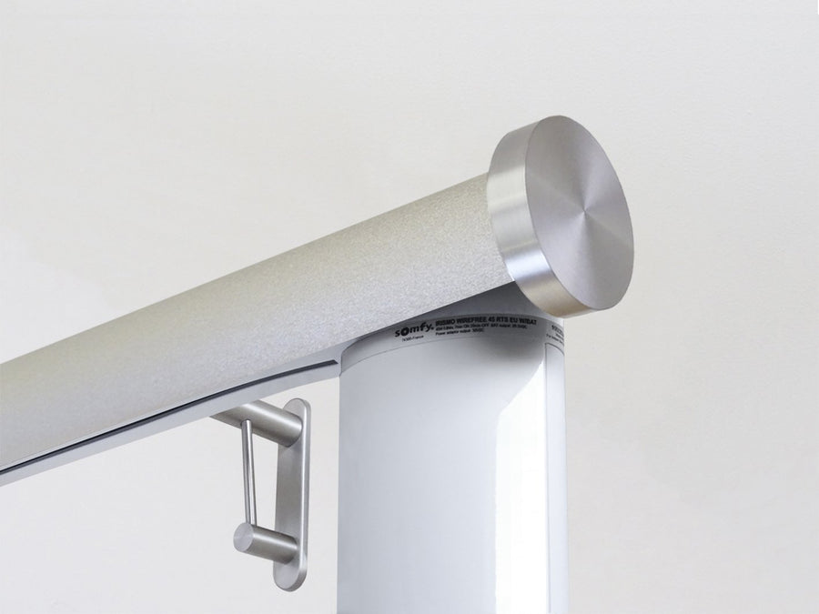 Motorised electric curtain pole in gold dust, wireless & battery powered using the Somfy Glydea track | Walcot House UK curtain pole specialists