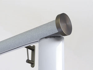 Motorised electric curtain pole in moonlight blue-grey, wireless & battery powered using the Somfy Glydea track | Walcot House UK curtain pole specialists