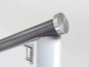 Motorised electric curtain pole in onyx silver, wireless & battery powered using the Somfy Glydea track | Walcot House UK curtain pole specialists