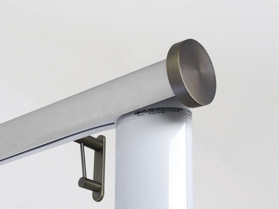 Motorised electric curtain pole in shadow silver, wireless & battery powered using the Somfy Glydea track | Walcot House UK curtain pole specialists