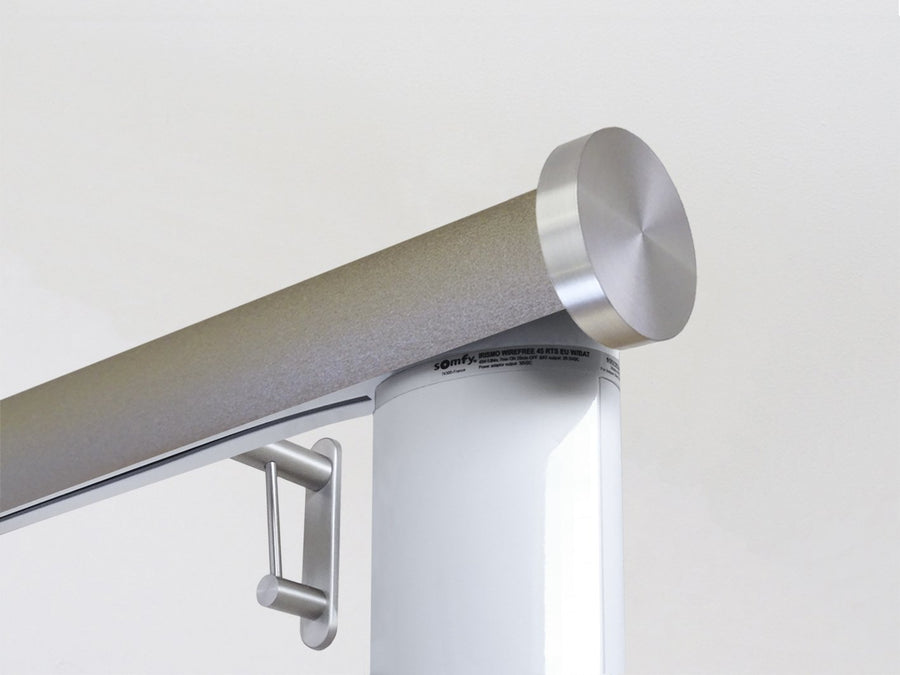 Motorised electric curtain pole in warm gunmetal gold, wireless & battery powered using the Somfy Glydea track | Walcot House UK curtain pole specialists
