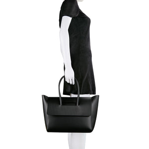 Flap Closure Handbag - Black