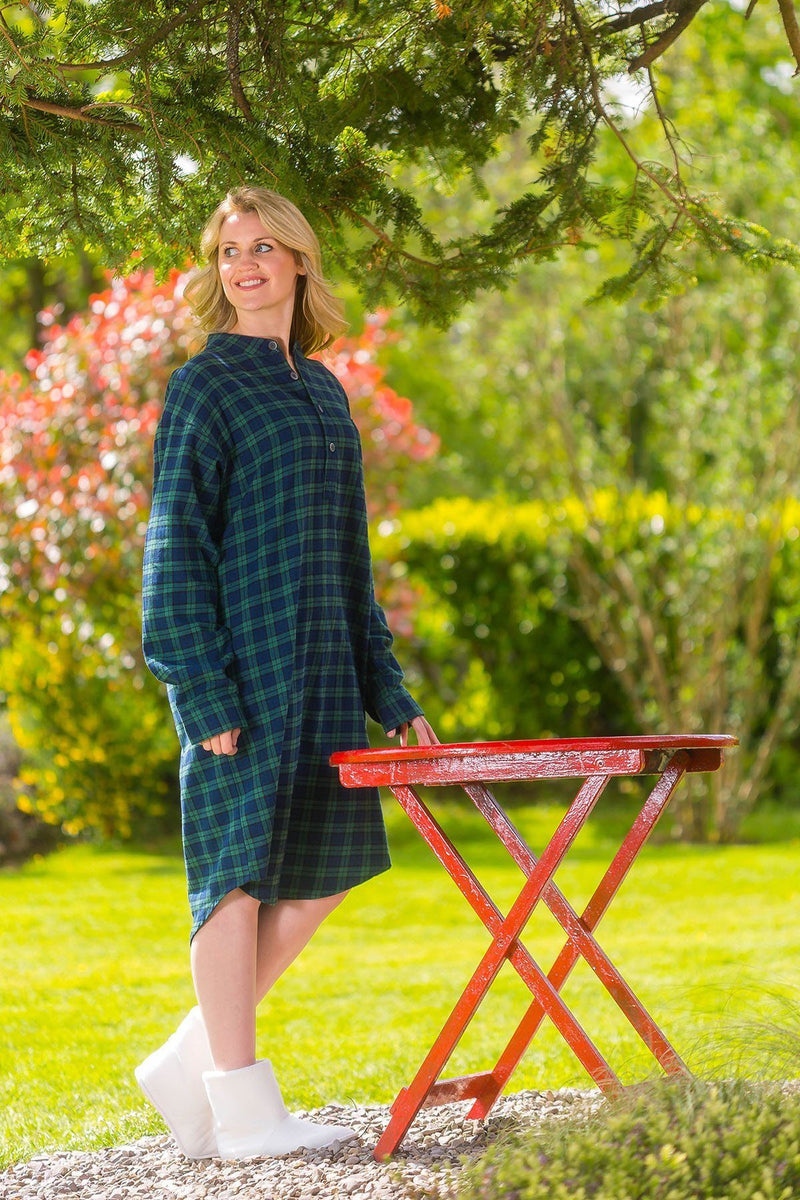 Nightshirt Lee Valley Flannel Ladies - LV6 Green Tartan- Blackwatch - Lee Valley Ireland - 3