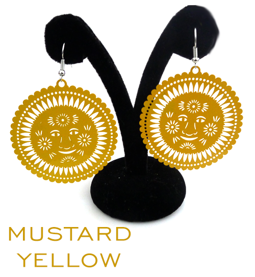 Papel Picado Earrings, Sol, Mustard Yellow