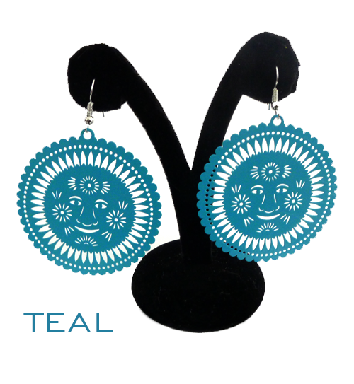 Papel Picado Earrings, Sol, Teal