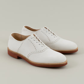 Alden Brogued Saddle Shoe White Suede Image #1
