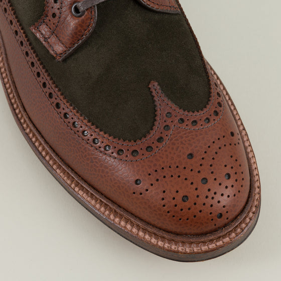 Alden Two Tone Long Wing Blucher Brown Green Image #1