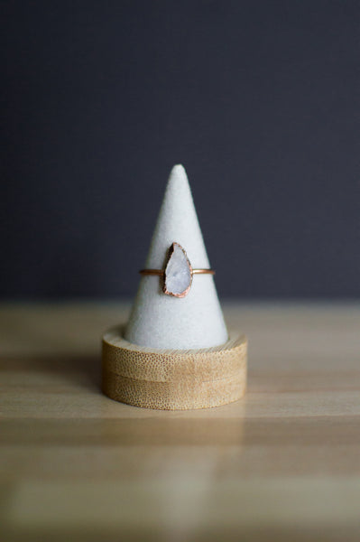 Rose Quartz Copper Ring - Size 9.75