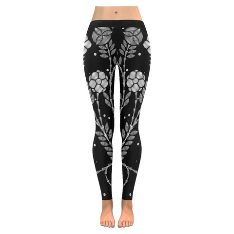 Black and white Enchanting flower Low Rise Leggings