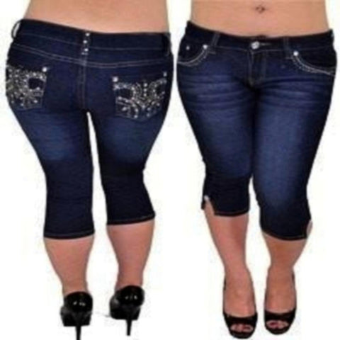 Loyally Elegant bottoms 1 / blue Streatchable Capri With Emroidery & Rhinestones