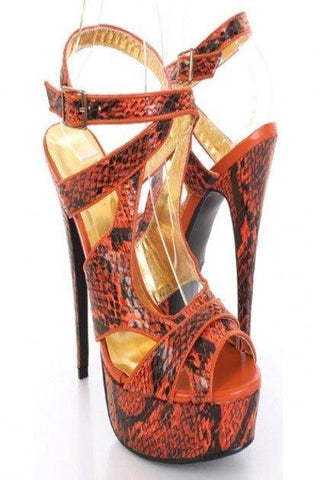 Orange Faux Leather Snake Skin Print Cut Out Peep Toe Heels
