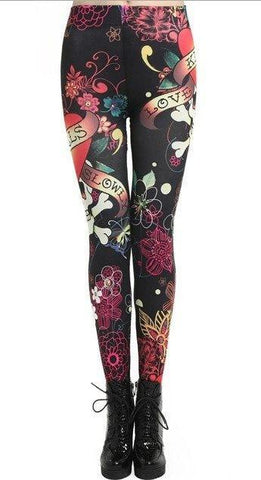 Graffiti Skulls Love Black Leggings