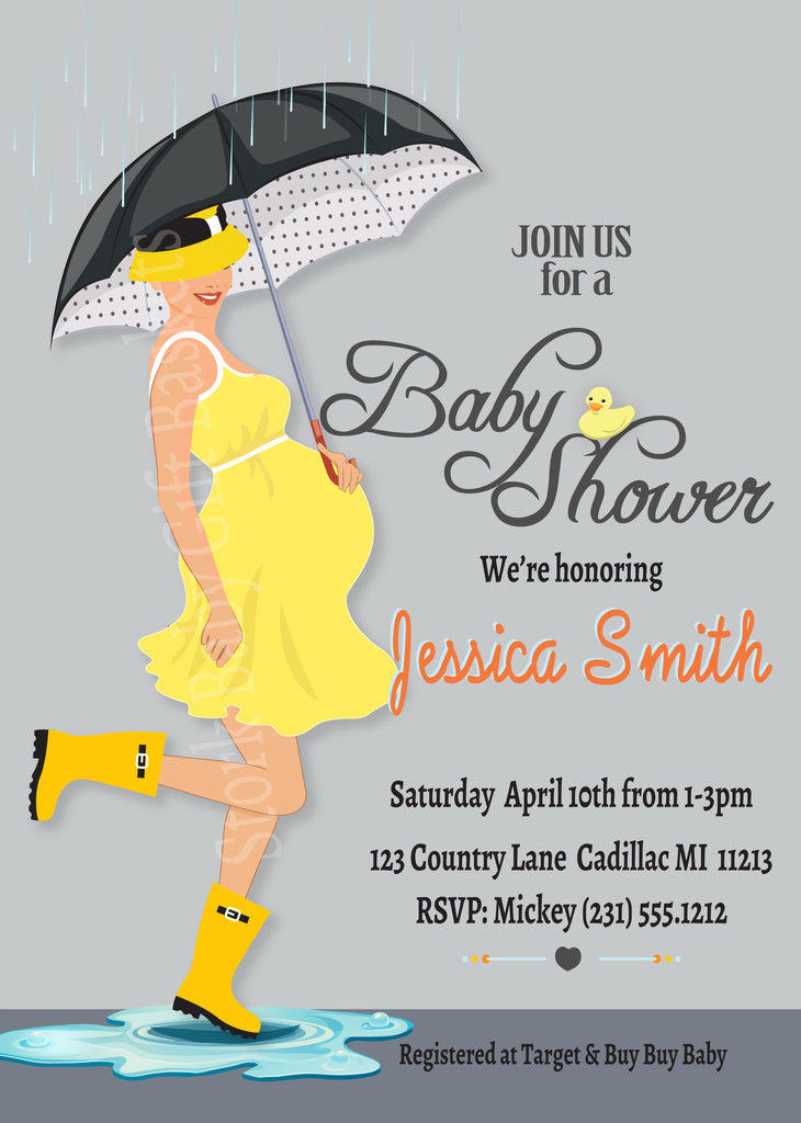 Just Ducky April Showers Baby Invitations (#SBGB309) - StorkBabyGiftBaskets - 2