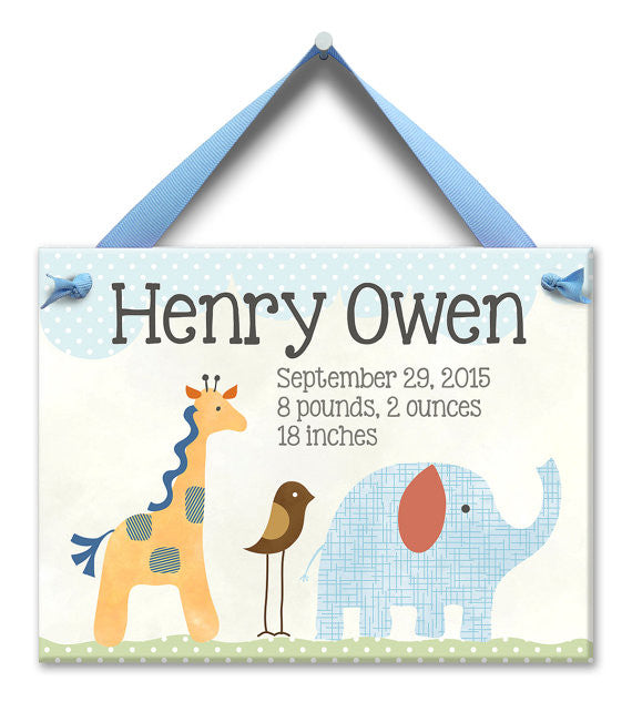 Safari Nursery Baby Boy Plaque (#LWC-002B) - Stork Baby Gift Baskets