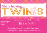 Pink Orange Plaid Twin Girls Baby Shower Invitations (#SBGB319) - StorkBabyGiftBaskets