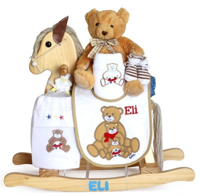 Baby Boy Natural Personalized Rocker  (#BGC327) - Stork Baby Gift Baskets