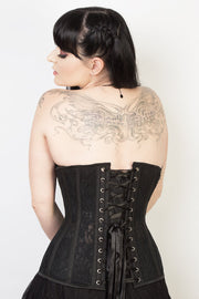 Underbust Black Mesh with Lace Long Corset
