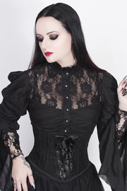 Franco Underbust Black Corset with Lace Overlay