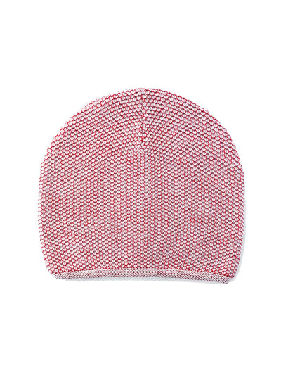 Knit Beanie - Red & Ivory