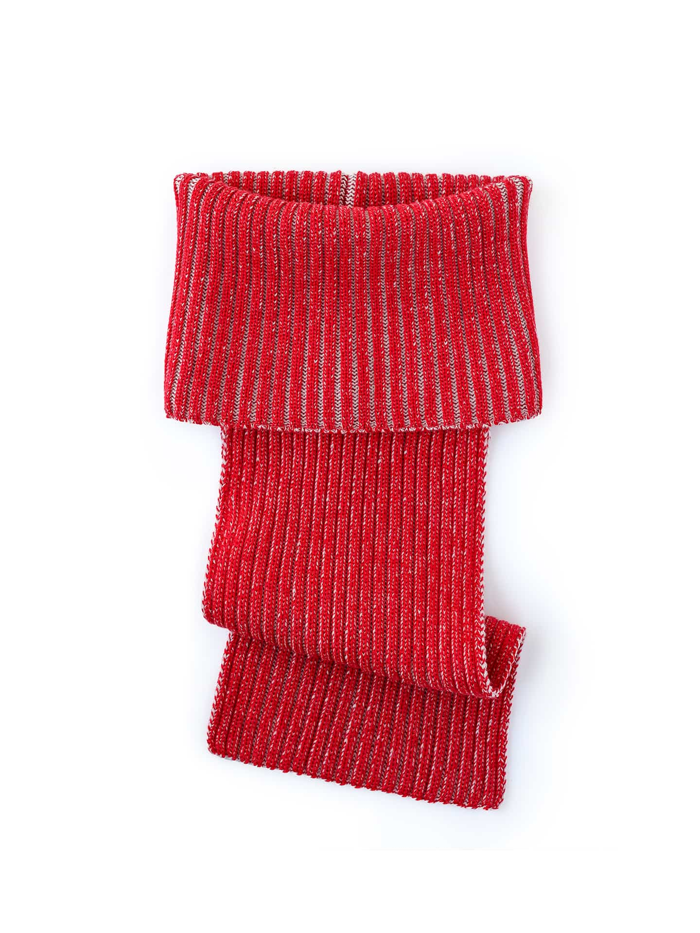 Extended Neck Scarf - Red & Ivory
