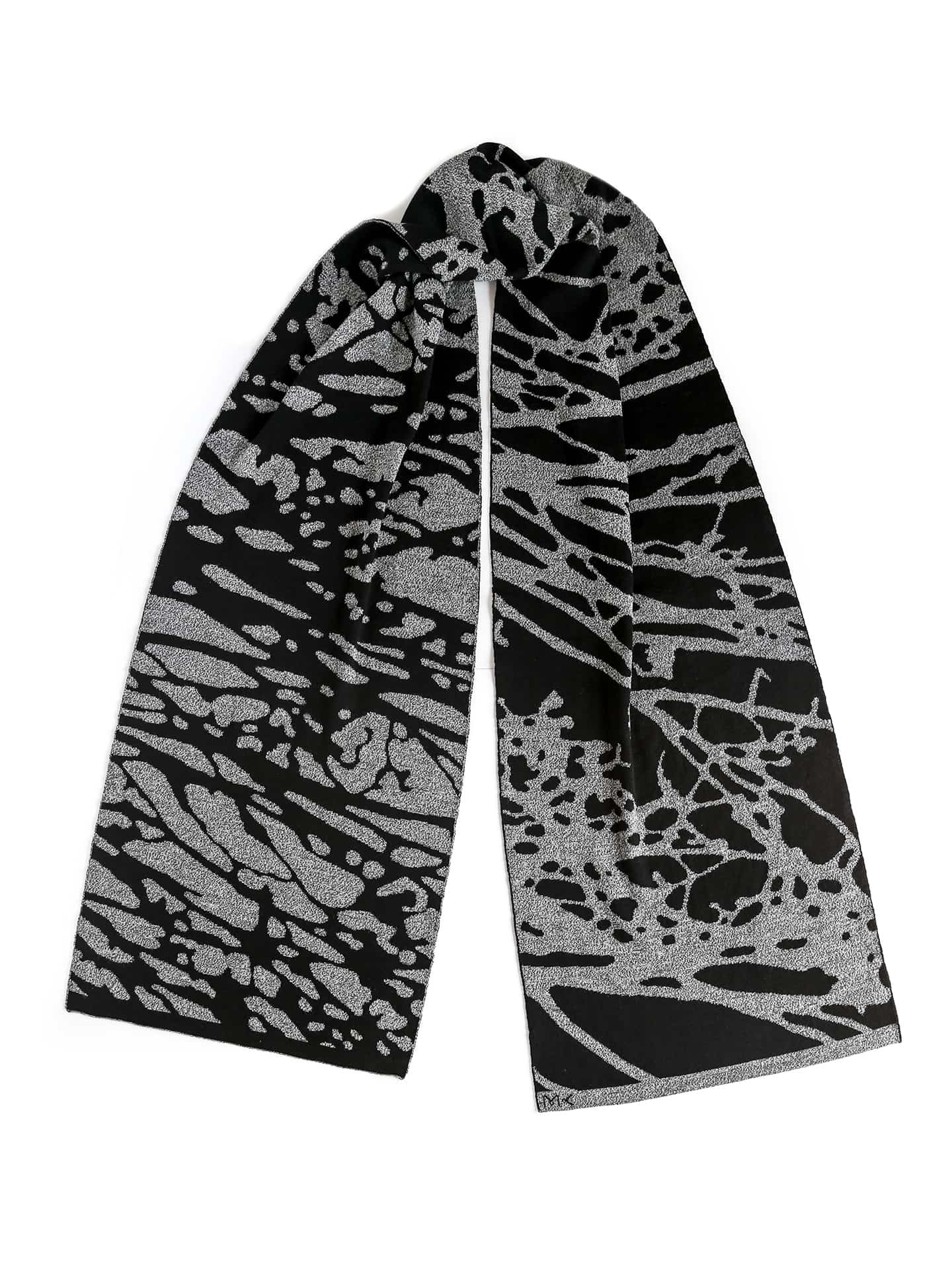 Painted Tree Scarf - Black & Grey Mouline