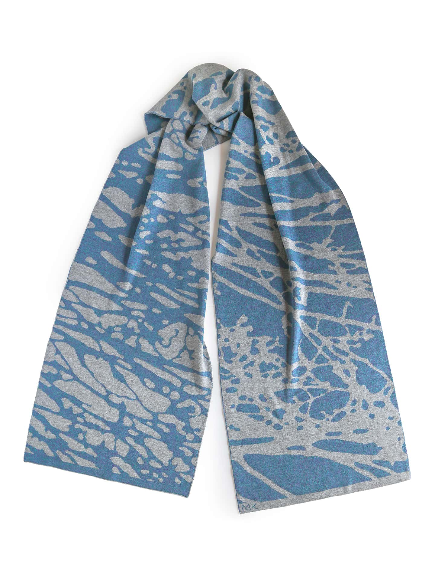 Painted Tree Scarf - Light Grey & Teal Mouline