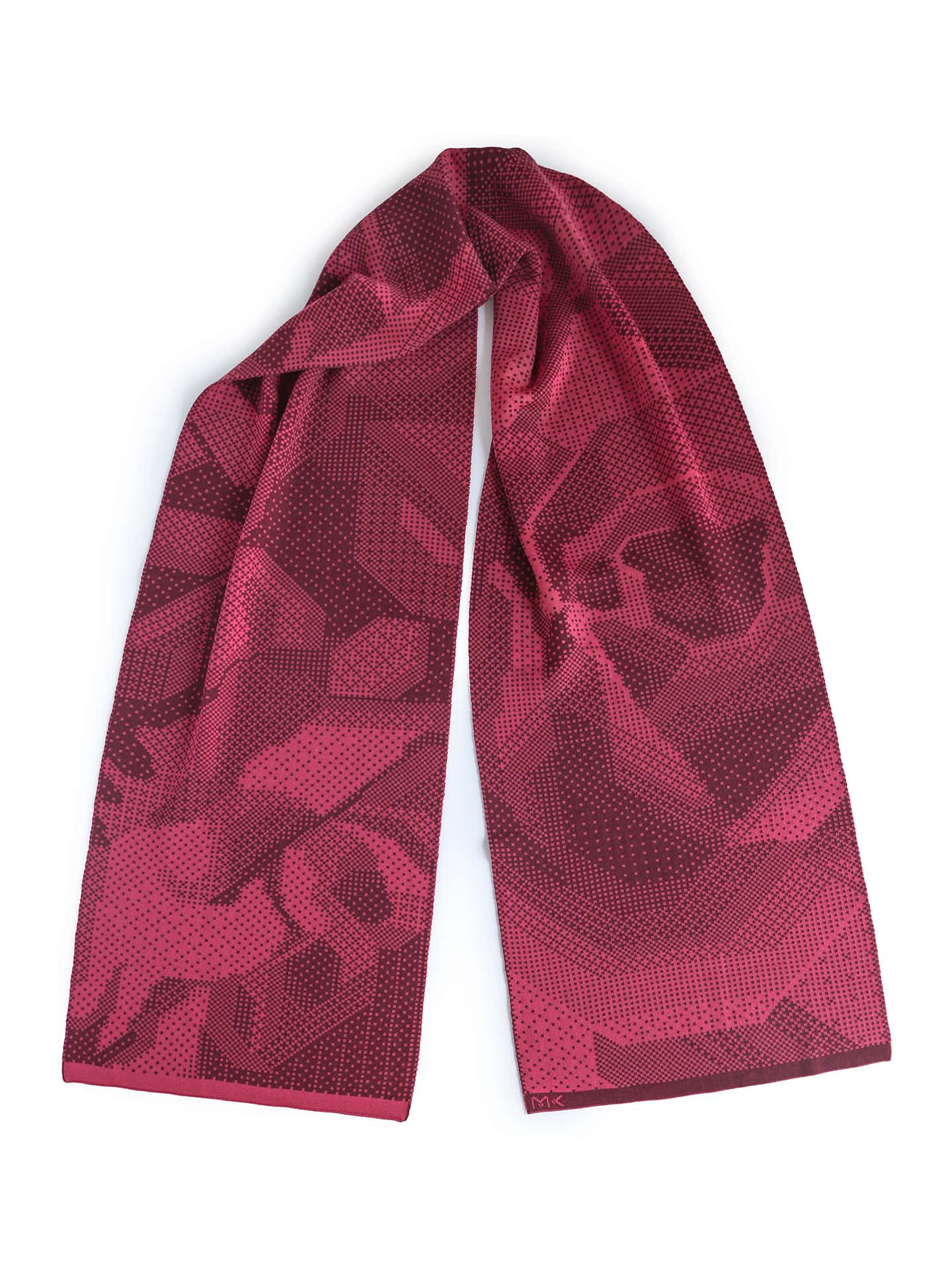 Pixelated Roses Scarf - Rose & Aubergine