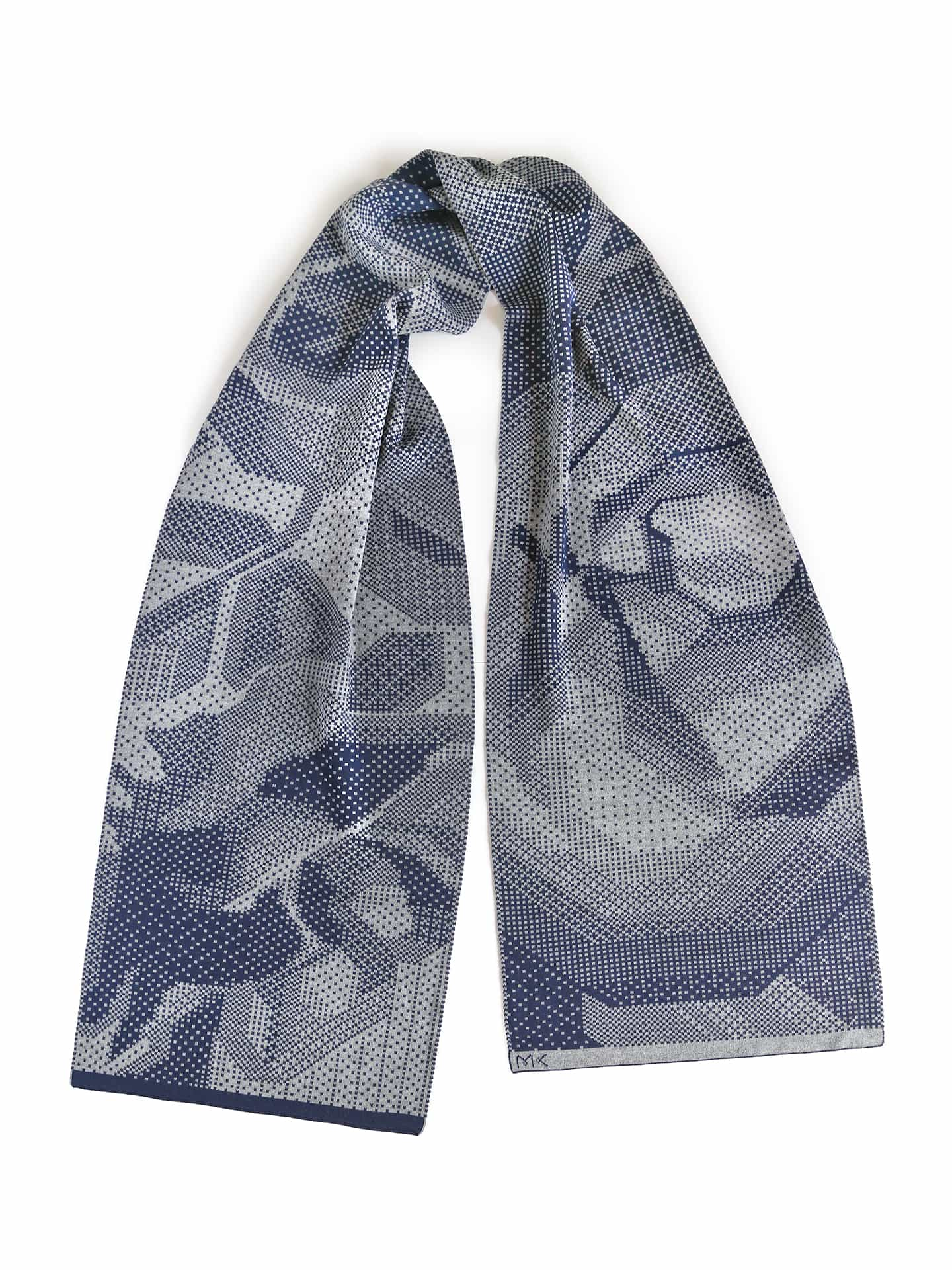 Pixelated Roses Scarf - Light Grey & Marine Blue