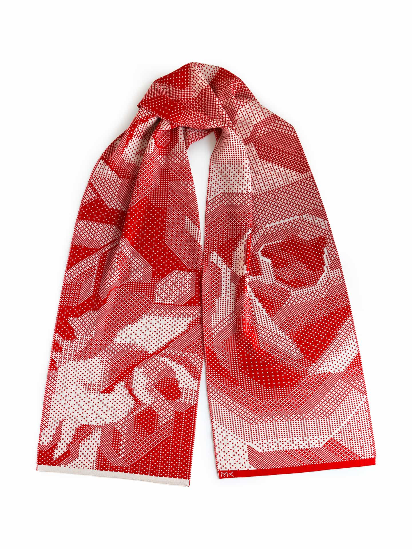 Pixelated Roses Scarf - Red & Ivory
