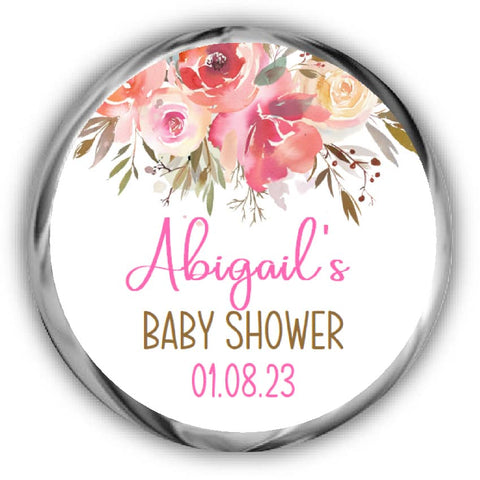 Floral Baby Shower Kisses Stickers