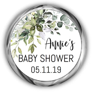 Greenery Baby Shower Hershey Kiss Stickers