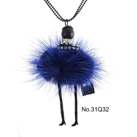Pendant Necklace Doll Pendant Rhinestone Long Chain with Crystal Bag
