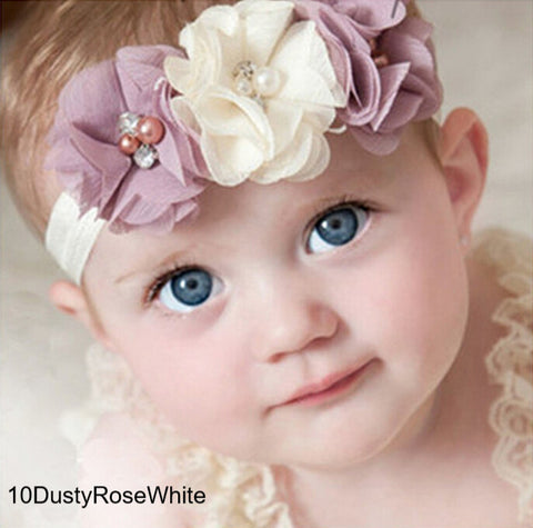 Baby Headband Chiffon Flower Pearl Diamond With A Shimmer Headbands