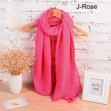 Scarves-18 Long Cotton Candy Colors Shawl 18 Colors Warm Soft Women Muffler