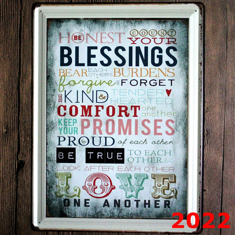 Decorative Metal Wall Signs-BLESSINGS...... 30X40cm