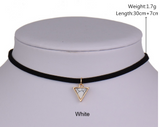 Special OFFER Pendant Necklace-Short Black Velvet Choker Necklaces With Triangle Faux Stone