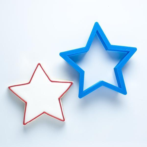 Frosted Cookie Cutter 4th of July Set - Star, Simple Flag, Firework & Pinwheel Cookie Cutters