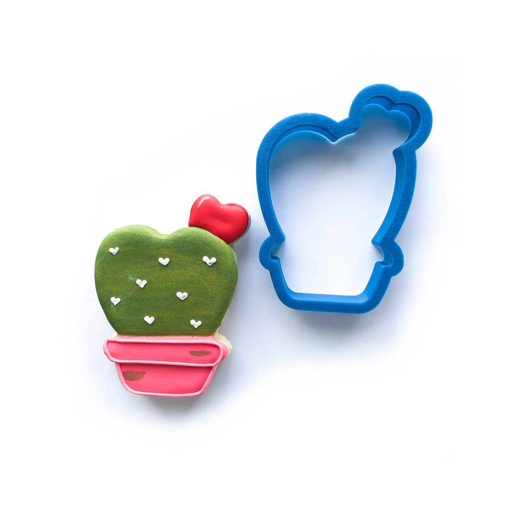 Frosted Cookie Cutter Valentine's Cactus Cookie Cutter