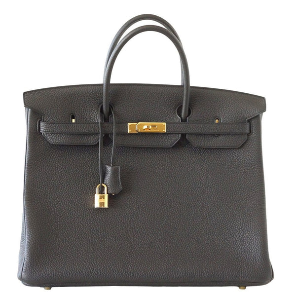 Hermes Birkin 40 Bag Plomb Togo Gold Hardware New Colour Off Black