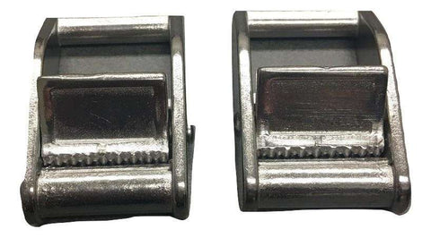 "QTY 2 - 1"" Stainless Steel Cam Buckle Tie Down"