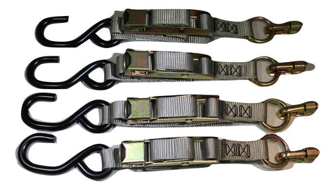 Qty 4 Manual Overcenter Buckle Strap W/ S-Hook Fits L-Track Wheelchair Securements