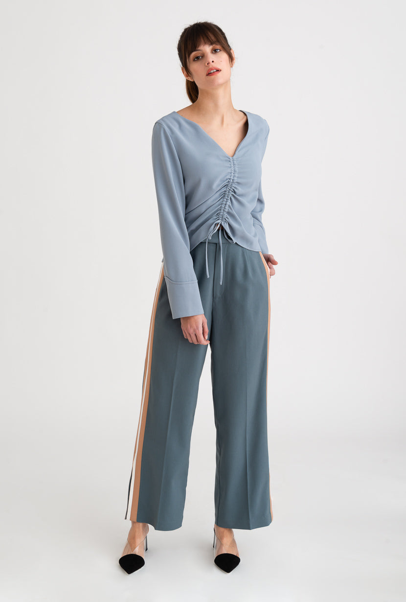 Sloane Pants-Dusty Blue-dusty blue side-striped track pants-Petite Studio NYC