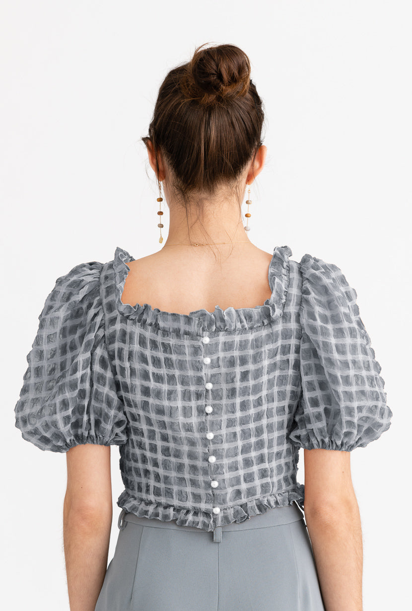Fuji Top-Steel-grey checked crop top with puffy sleeves-Petite Studio NYC