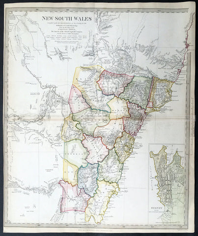 1833 SDUK Antique Map of New South Wales, Australia